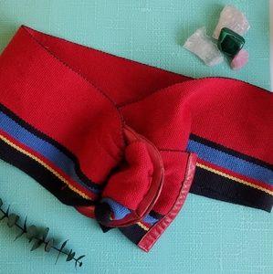 80s Red Striped Wide Fashion Belt Vintage VTG